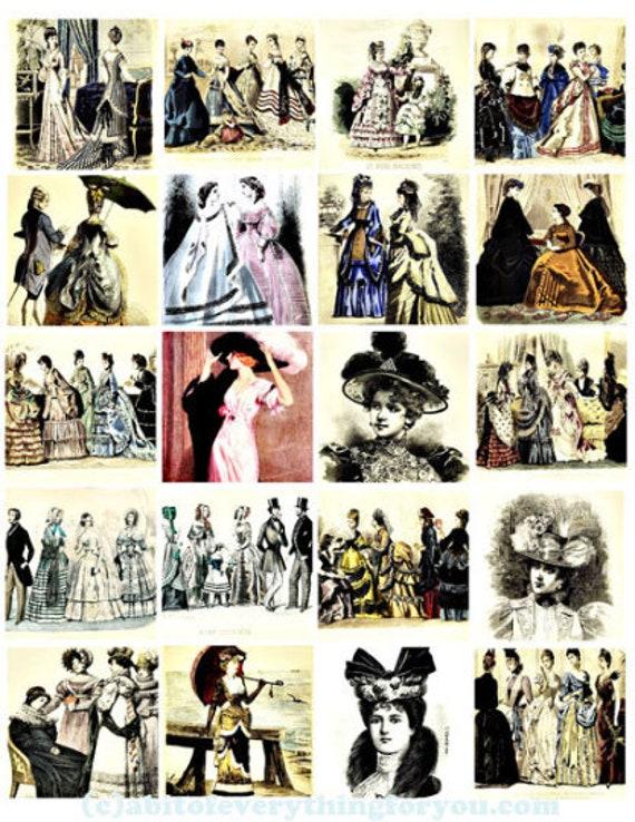 "vintage victorian people men women collage sheet 2"" inch  squares clipart graphics images digital download DIY craft printables scrapbooking"