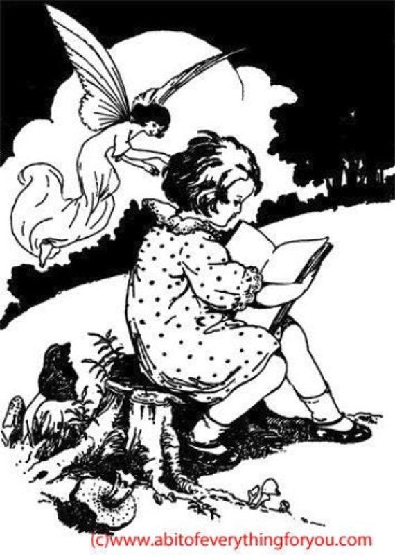 child reading book to fairy printable art print clipart png downloadable digital image vintage graphics digital stamp nursery room diy craft