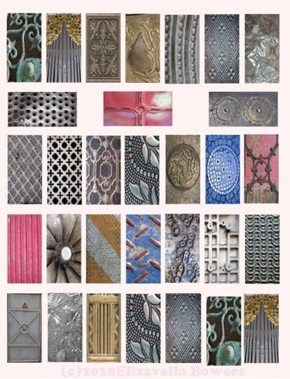 "domino collage sheet metals grunge digital download 1"" x 2"" inch graphics steampunk images printables"