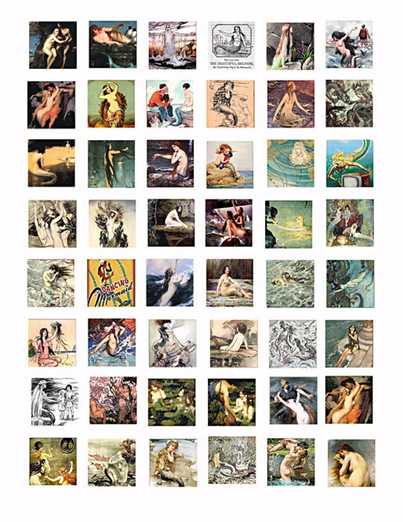 download collage sheet sea nymphs mermaids sirens vintage art clip art digital 1 inch square graphics images craft pendant printable jewelry