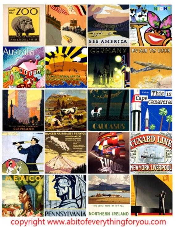 vintage world travel art poster vacation clip art digital download collage sheet 2 inch squares graphics images printables