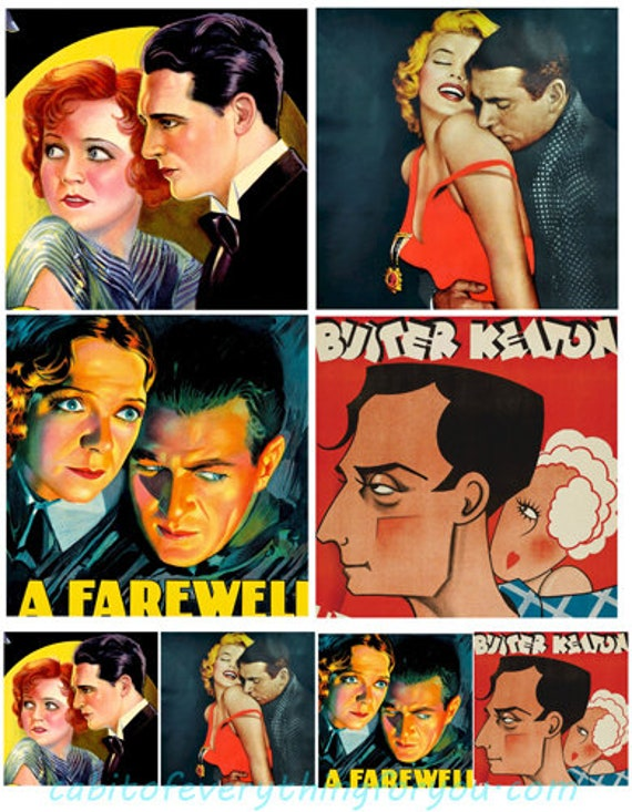 "vintage movie posters collage sheet digital download 4"" & 2"" romance lovers graphics downloadable images printables"
