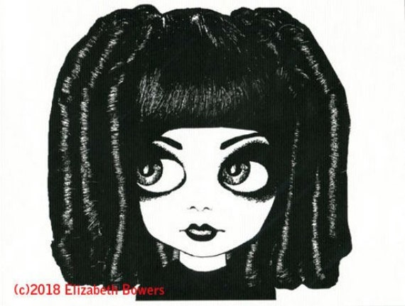 big eye gothic girl original art print  ringlet curly hair big eyes modern ink black white kids room art nursery home decor