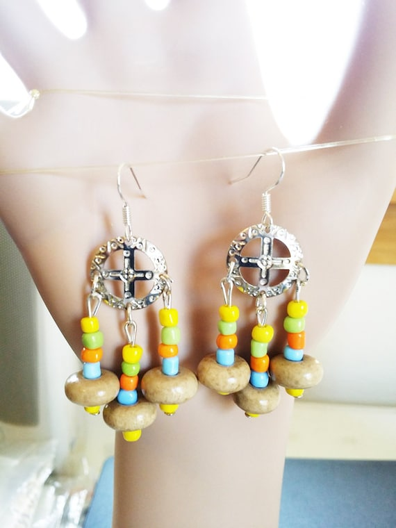 wood bead drop circle cross chandelier earrings multicolor dangles handmade boho hippie jewelry