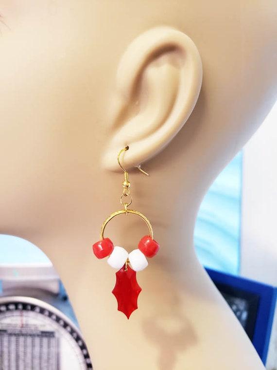 red and white leaf beads hoop earrings plastic christmas jewelry handmade