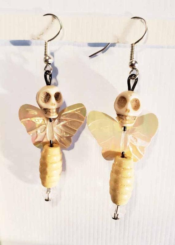 white sugar skull earrings skull bead earrings day of the dead fairy butterfly goth handmade jewelry
