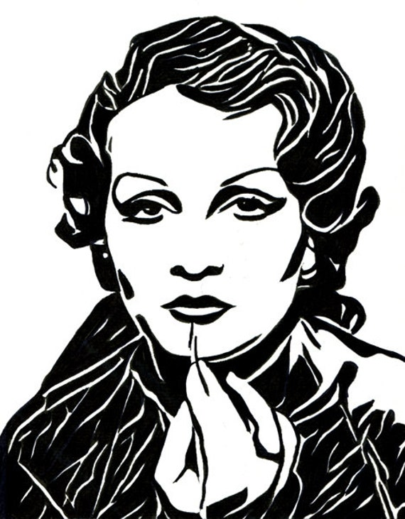 marlene dietrich 1950s Womans face abstract ink original art drawing portrait black and white lino cut style artwork