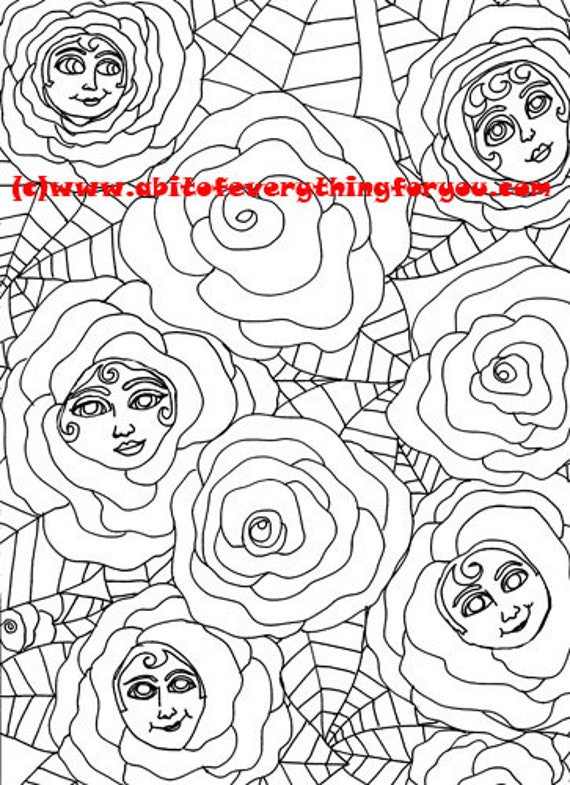 roses with faces coloring page abstract fantasy flower pattern colouring pages line art printable art coloring pages to print out