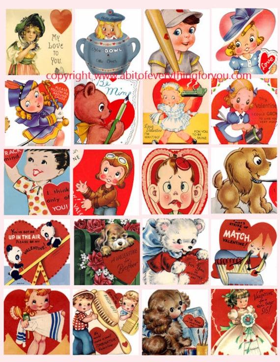 vintage Valentines cards clip art digital download collage sheet 2 inch squares graphics images printables for pendants pins magnets