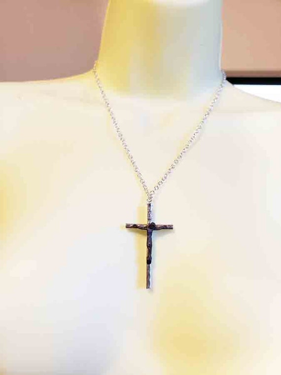 Vintage metal crucifix cross chain necklace  Italy religious christian jewelry