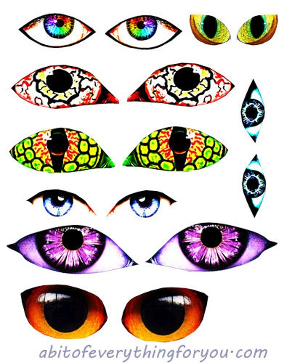 human monster creature fantasy eyes die cuts clipart digital instant download craft printables collage sheet graphics images scrapbooking