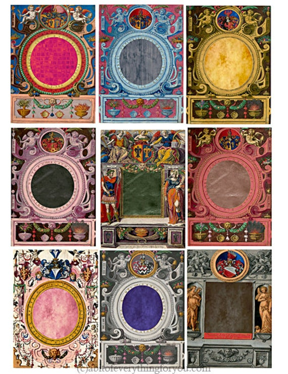 """antique ornamental frames collage sheet 2.5"""" x 3.5"""" inch picture photo frames clipart graphics images digital download craft printables"""