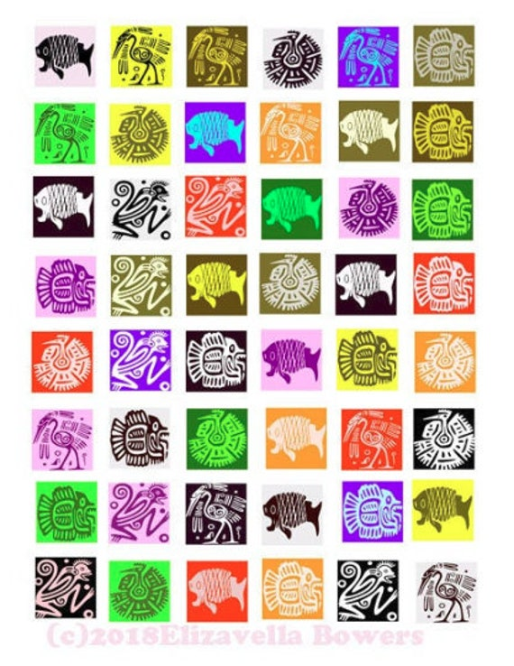 """collage sheet mexico motif signs animal symbols digital download 1"""" inch squares clipart images printables diy crafts jewelry making magnets"""