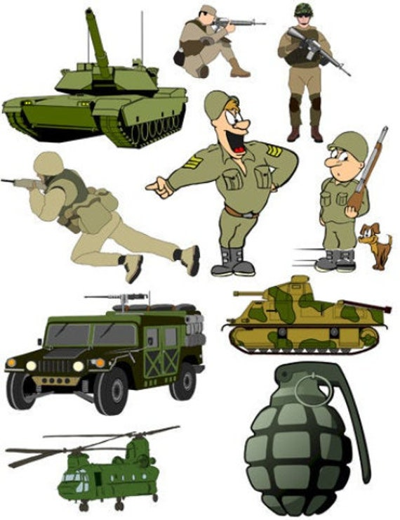 cartoon Army Military war comics art Soldiers Tanks Weapons printable clipart png die cuts collage sheet digital download images cut outs