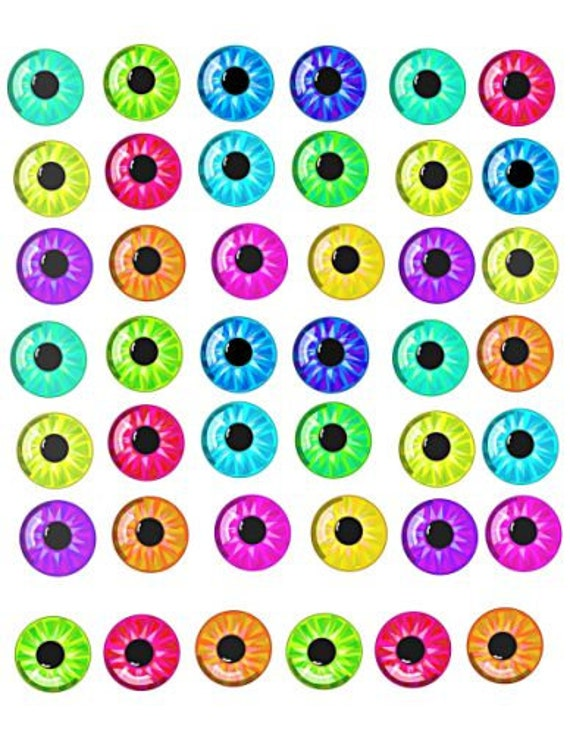 """cartoon doll eyes pupils downloadable collage sheet 1"""" inch circles eye clip art digital graphics images jewelry collage pendant printables"""