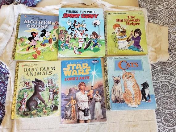 6 vintage childrens books star wars, cats ,baby animals, disney, little golden books