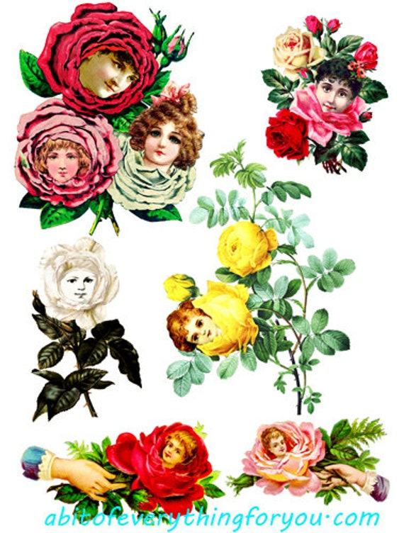 flowers with faces collage sheet printable rose die cuts clipart digital download craft cut outs graphics images for DIY crafts scrapbook