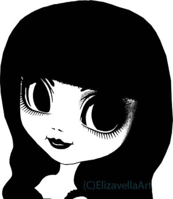 big dark eyes girl goth cutie printable art clipart png download digital image instant downlaodable print graphics black and white artwork