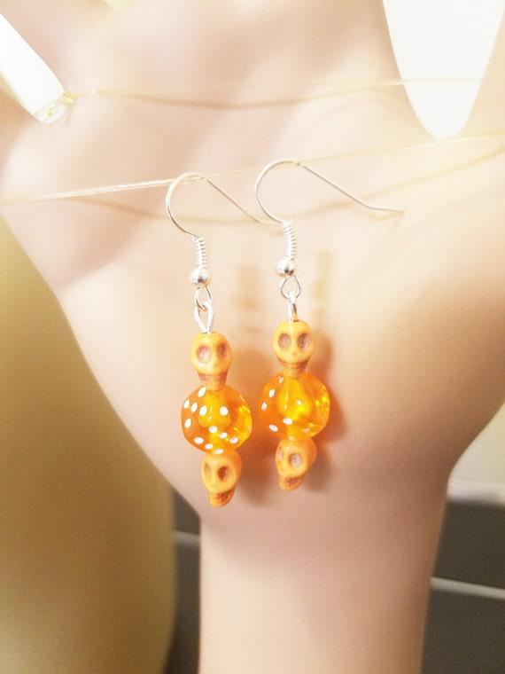 orange sugar skull dice earrings bead dangles day of the dead goth punk handmade jewelry