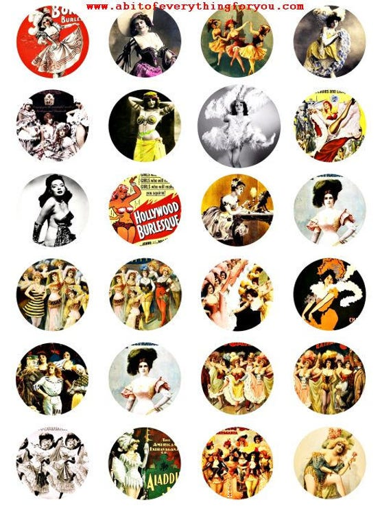 burlesque dancers strippers vintage art photos clip art digital download collage sheet 1.5 inch graphics images printables