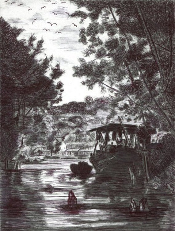original pen drawing fishing boat in village swamp landscape trees nautical modern art By Elizavella