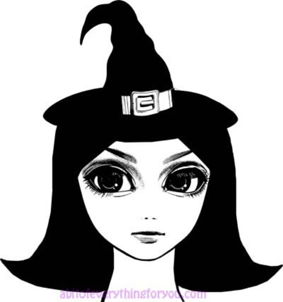 printable big eye witch girl art clipart png instant downloadable digital artfantasy fairytale image graphics diy crafts