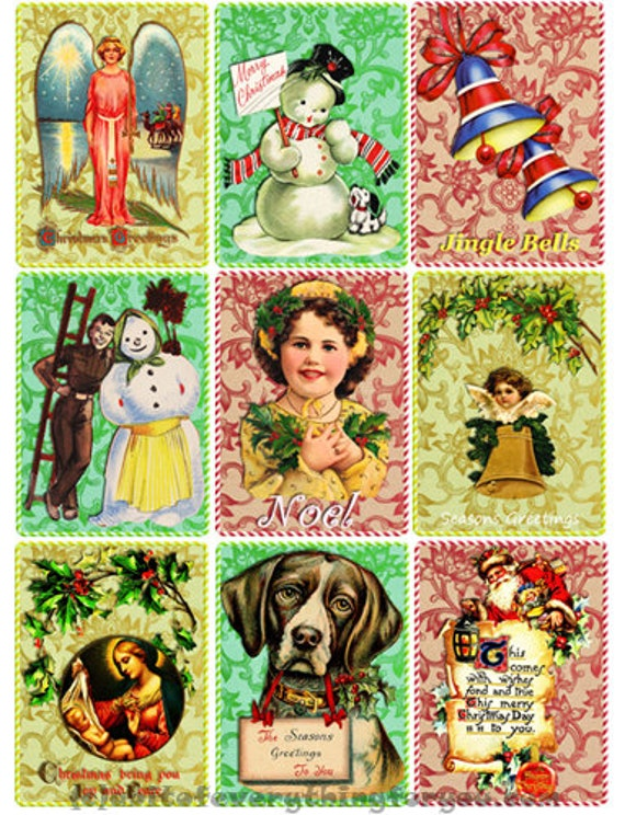 "Vintage Christmas art collage sheet digital download 2.5"" x 3.5"" graphics downloadable images santa snowman kids vintage craft printables"