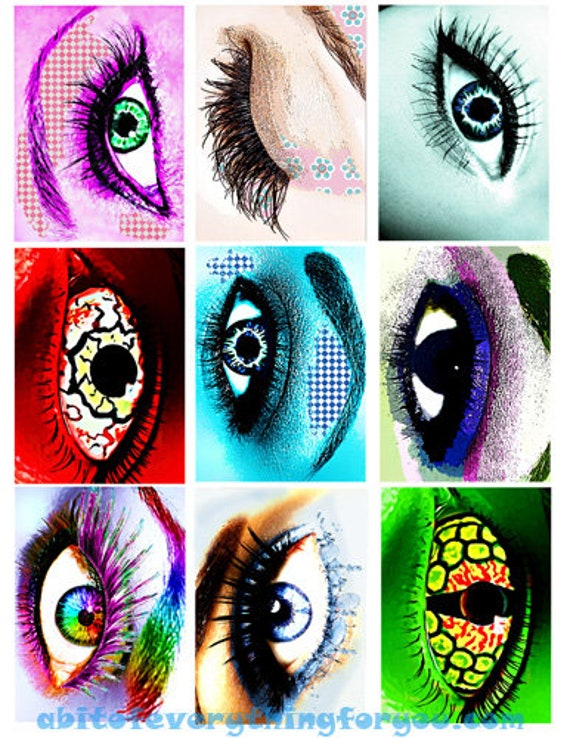 "collage sheet womens creature eye makeup art digital download 2.5"" x 3.5"" graphics downloadable images printables diy crafts scrapbooking"