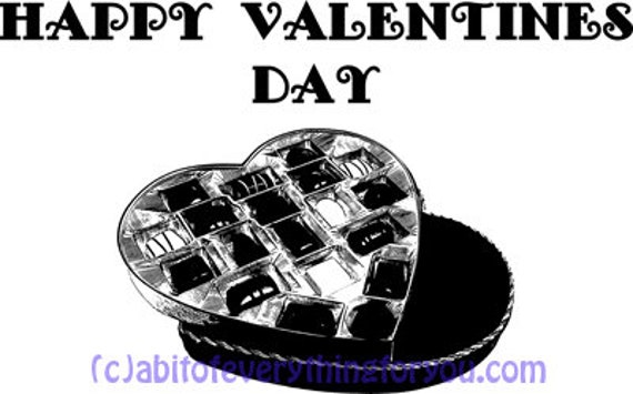 happy valentines day heart box of chocolates clip art png printable art digital download image graphics dwonloadable black and white artwork