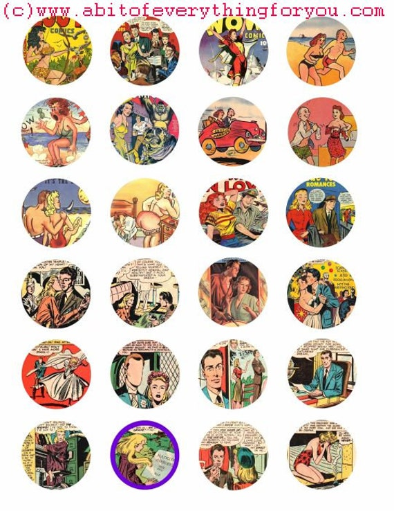 romance comics book art collage sheet 1.5 inch circles clip art digital download graphics images craft printables