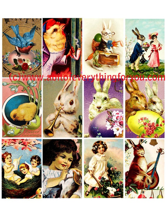 "easter bunny rabbit baby chicks clip art 2"" x 3"" inch collage sheet graphics images digital download craft printables"