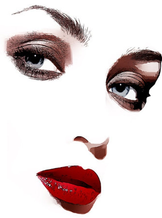 beautiful womans face blue eyes red lips makeup clipart png jpg printable wall art digital download pinup girl images