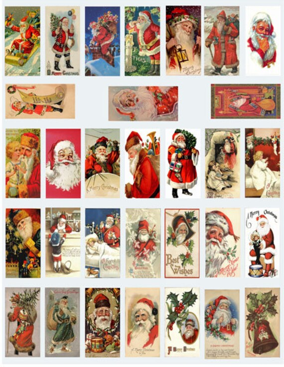 "vintage santa claus christmas art clipart digital download domino collage sheet 1"" x 2"" inch graphics images printables pendants magnets"