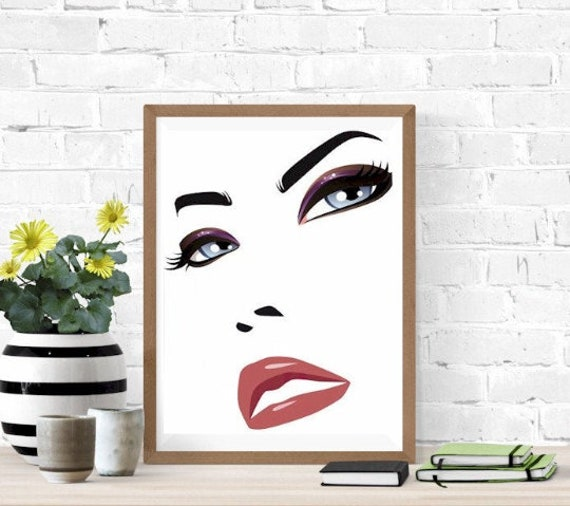 mad womans face blue eyes red lips clipart jpg png printable wall art digital download makeup beauty graphics images