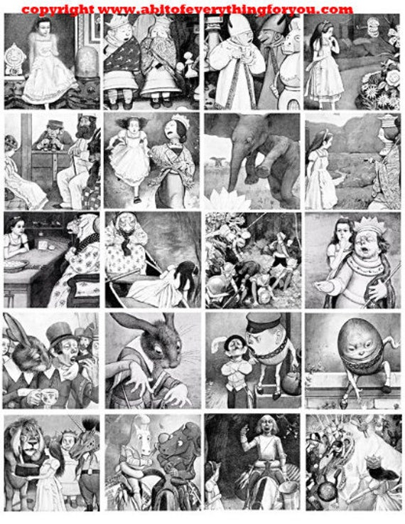 vintage alice in wonderland drawings clip art digital download collage sheet 2 inch squares graphics images craft art printables