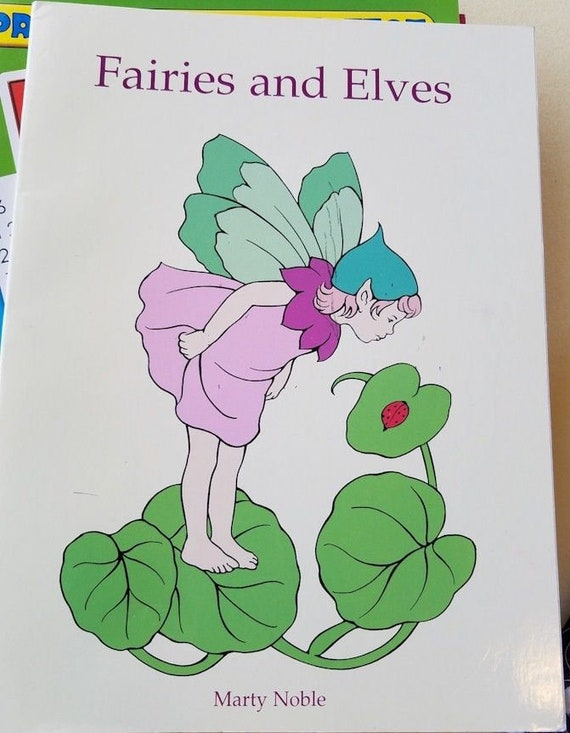 Fairies and elves coloring book flowers animals fantasy line art 1998 copyright
