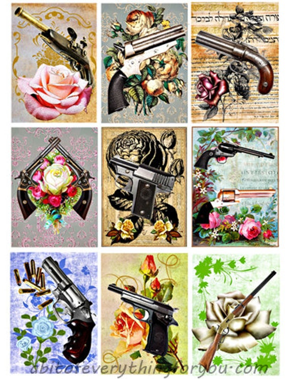 printable collage sheet roses guns pistols rifles art 2.5 x 3.5 inch images clipart digital download graphics downloadable images