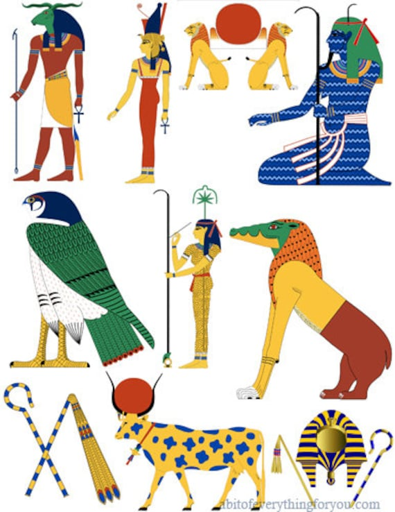 downloadable Egyptian cartoon icons clipart collage sheet printable art graphics images digital download diy craft cut outs