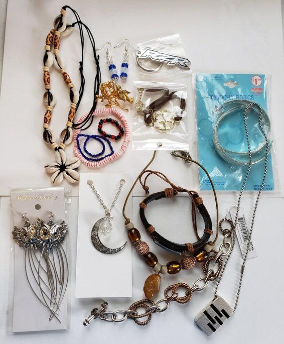 mixed jewelry lot necklaces earrings bracelet key ring 14 piece wholesale