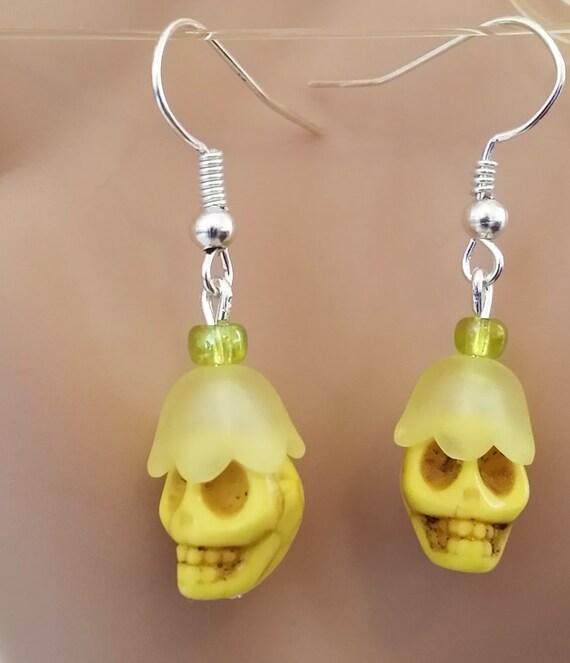 yellow skull flower sugar skull earrings turquoise bead dangles skeleton jewelry day of dead handmade halloween punk fashion