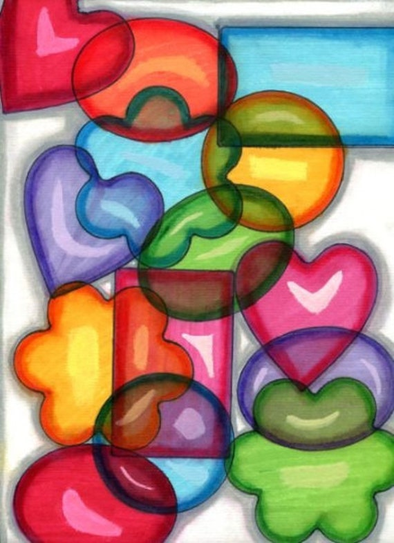 hearts circles rectangles geometric shapes original fine art abstract drawing colorful ink pastels modern artwork by Elizavella