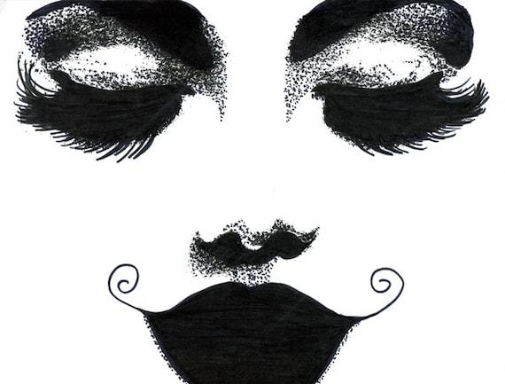 long lashes dark lipstick womans face original art ink drawing makeup pop art fashion modern black and white artwork