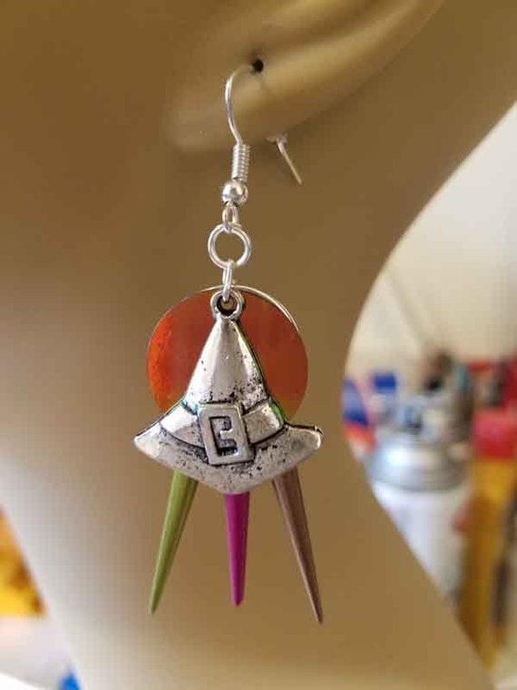 silver witch hat chandelier earrings multicolor spikes goth Halloween handmade jewelry