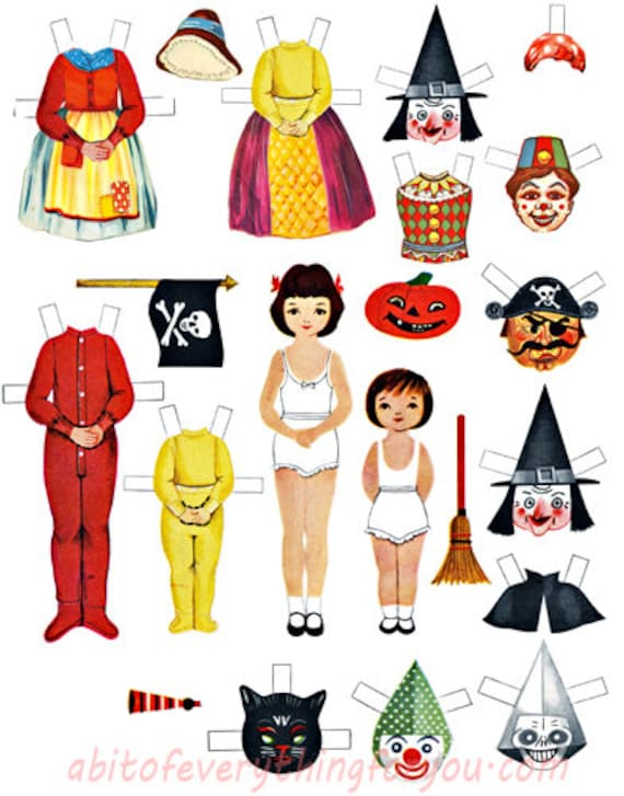 vintage halloween paper doll & costumes clothes printable die cuts clipart digital download crafts downloadable graphics images scrapbooking