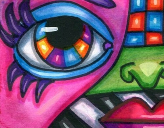 abstract rainbow eye surreal original aceo art drawing modern colorful miniature art by Elizavella