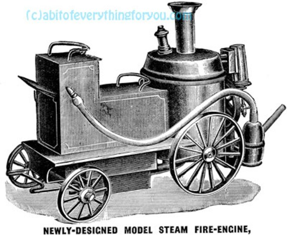 steam Fire engine Antique Machines printable art clipart png jpg instant download illustrations digital downloadable image graphics artwork