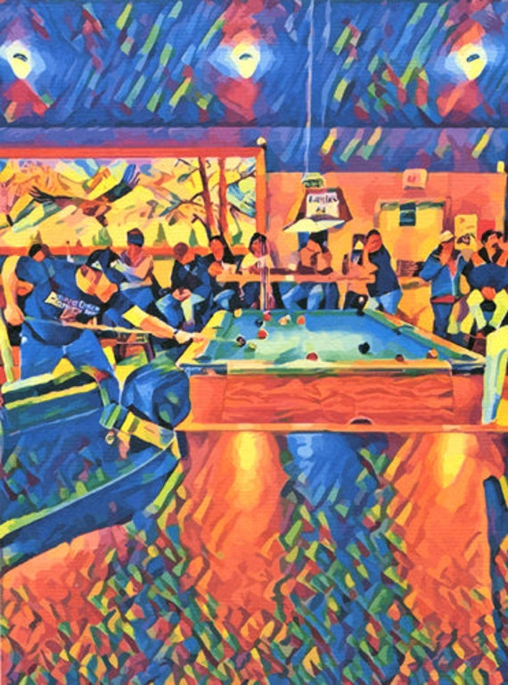 men playing pool billiards abstract original art print bar scene people colorful modern artwork