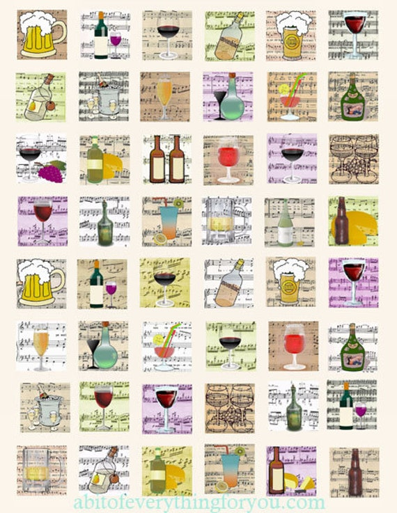 liquor booze alcohol sheet music clipart digital download collage sheet 1 inch squares vintage images pendant jewelry making printables