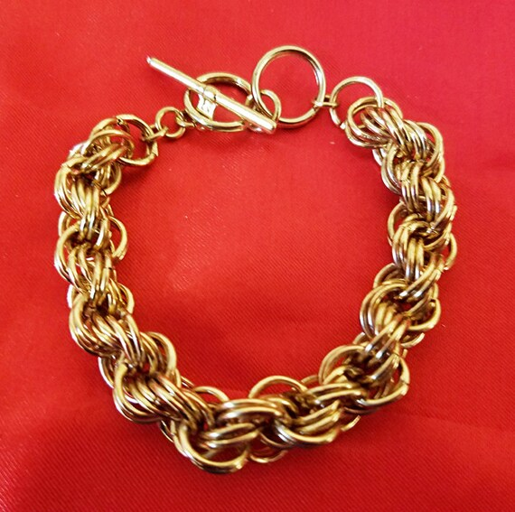 vintage gold muti links chain bracelet 10mm metal toggle womens mens unisex jewelry new