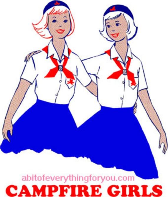 vintage campfire girls printable art print vintage illustration download digital image downloadable graphics